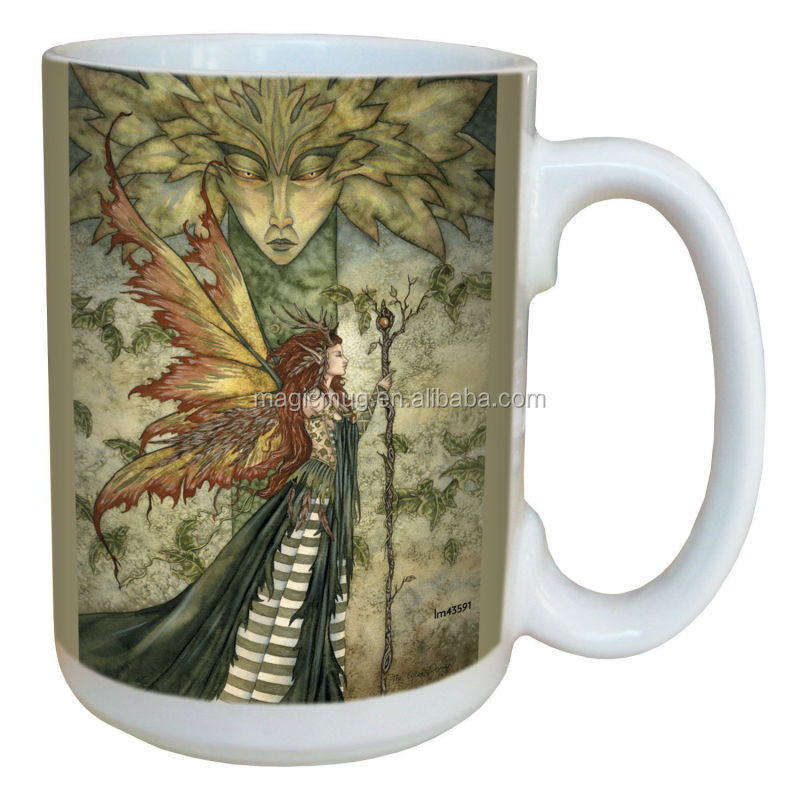 15 Ounce Forest Fairy Ceramic Mug with Full Sized Handle