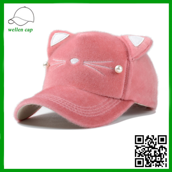 ladies' fashion cats ear lovely winter baseball cap with pearl