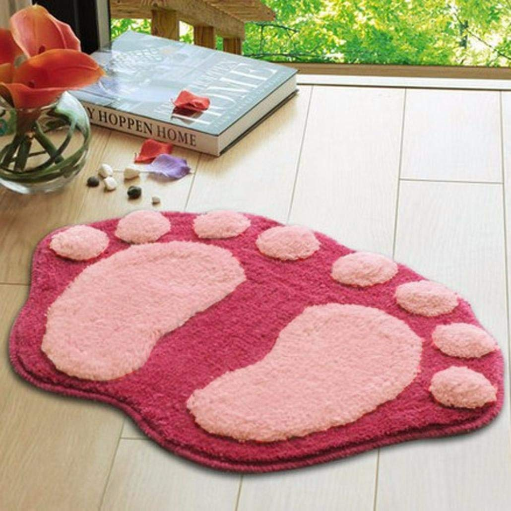 Bathroom Non-Slip Mat,Soft Feet Memory Foam Bath Bathroom Bedroom Floor Shower Mat Rug (Pink, Size: Approx 58.5cmx 38.5cm)
