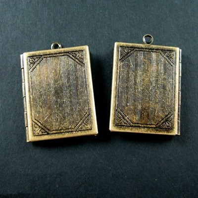 27x35mm big brass bronze vintage antique square book photo locket 1191027