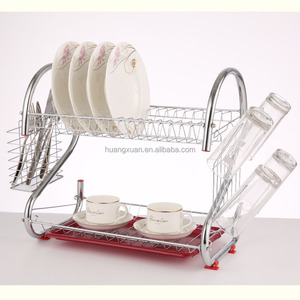 re color classic two-tier kitchen dish drying rack, dish drainer, dish rack holder