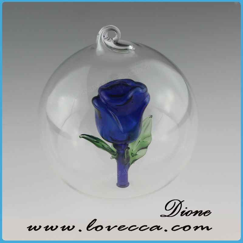 Glass rose in ball or glass tube rose clear glass ball
