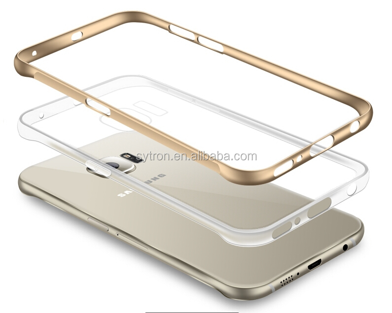 aluminum bumper+clear TPU backcover mobile phone case for samsung