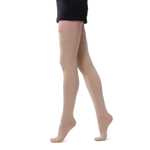 Elastic medical gel anti slip stocking product type thigh high body compression stocking 15-21 mmhg
