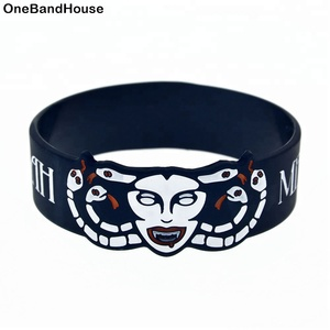25PCS/Lot Black Meshuggah Bracelet 1 Inch Wide Silicone Wristband Heavy Metal Music Band Jewelry