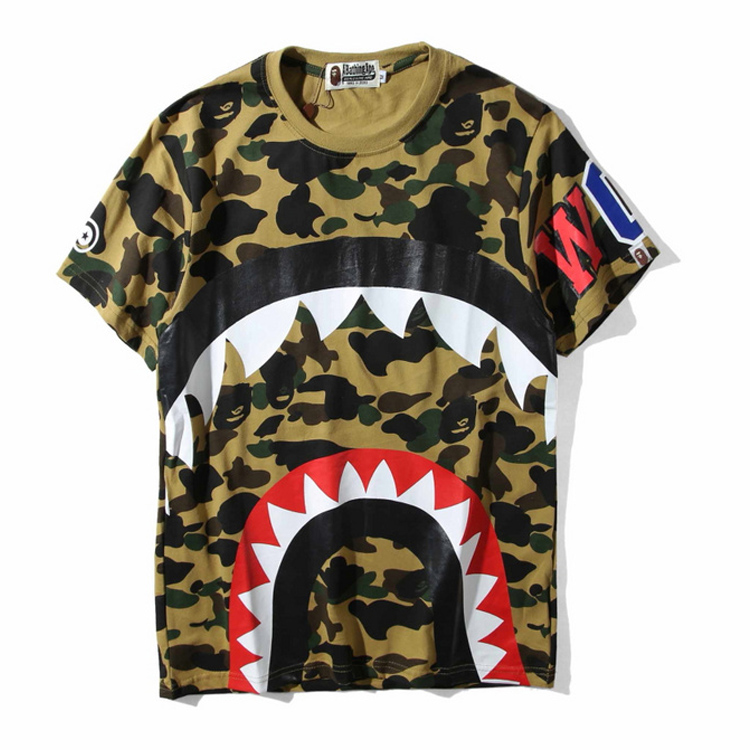 OEM Shark's Sawtooth Printed Creative Street Boy T Shirts Casual Pop Fashion Men's Clothing