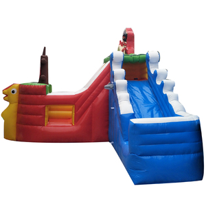 High quality pvc inflatable water park slide outdoor moonwalk castle slide commercial inflatable bouncer house trampoline slide