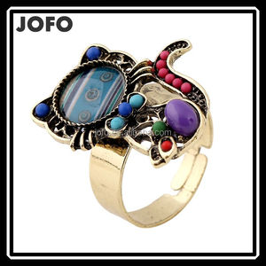 NEW Big Fashion Retro Colorful Resin Stone Finger Ring Adjustable Cat Ring Women Jewelry