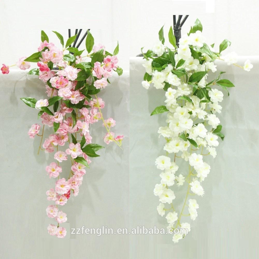 High Quality Artificial Cherry Bloom Hanging Bush Silk Flowers