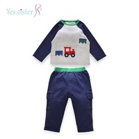 Stock Wholesale Spring Baby Boy 2 Pcs Kids Clothing Set