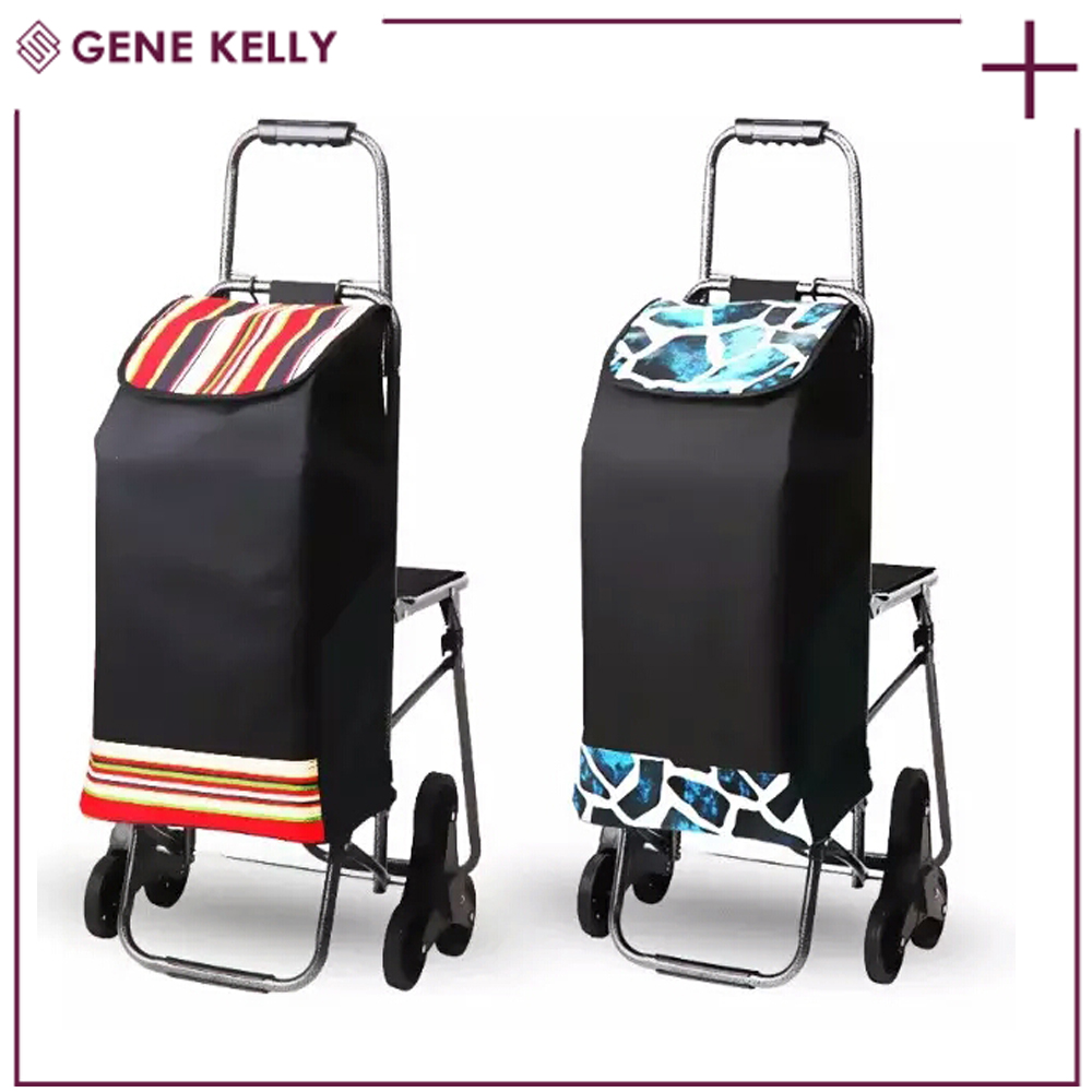 GEKE Strong Production Capacity Airport,Hand Operated Lift Truck,Climb Stairs Folding Shopping Cart with Seat