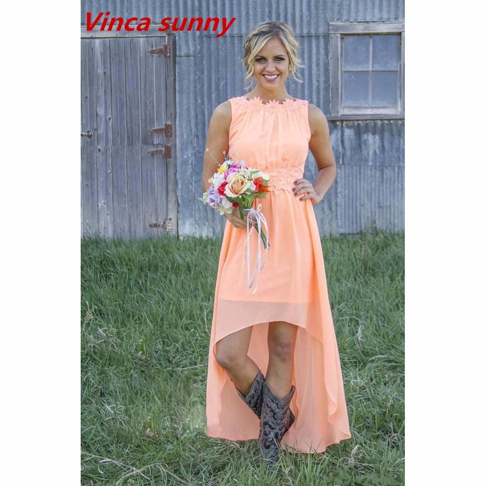 Suosikki 2017 High Low Short Front Long Back Beach Wedding: Popular Peach Long Dress-Buy Cheap Peach Long Dress Lots