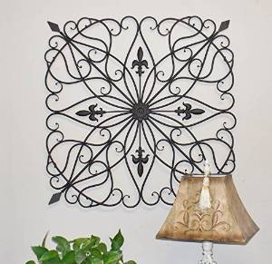 """Karina Tuscan 28"""" Square Indoor Outdoor Wrought Iron Wall Grille Plaque"""
