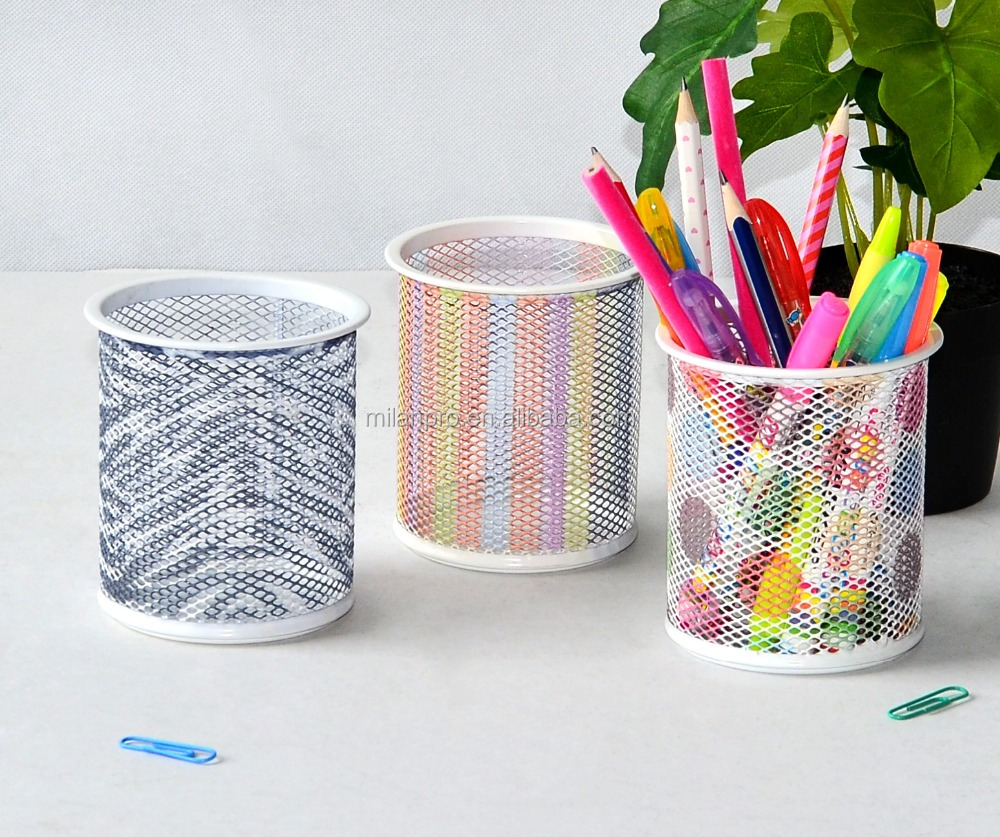 Office Stationery colorful printed pencil cup, Metal Wire Mesh Round Pen Holder
