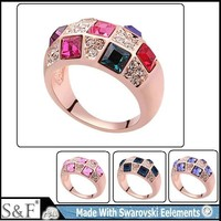 2016 Top sale gold crystal from swarovski ring