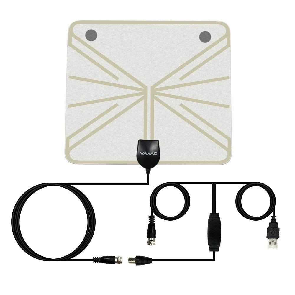 HD TV Antenna -HHX 2018 Newest UPGRADED VERSION Indoor Amplified Digital HDTV Antenna 50 Mile Range Local Broadcast 4K HD VHF UHF Signal TV Channels for Smart Television with Detachable Amplifier and