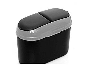 New Style Mini Flip-Open Cover Portable Car Trash Can Premium Quality Vehicle Trash Bin (Grey)