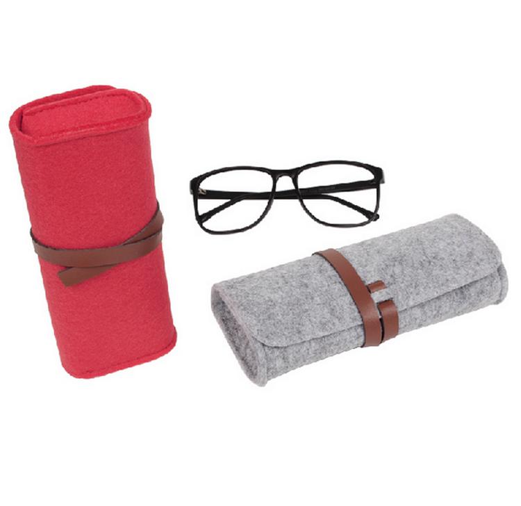 Eco-friendly eye glasses pouch cheap soft felt sunglasses bag with leather belt, Grey or custom