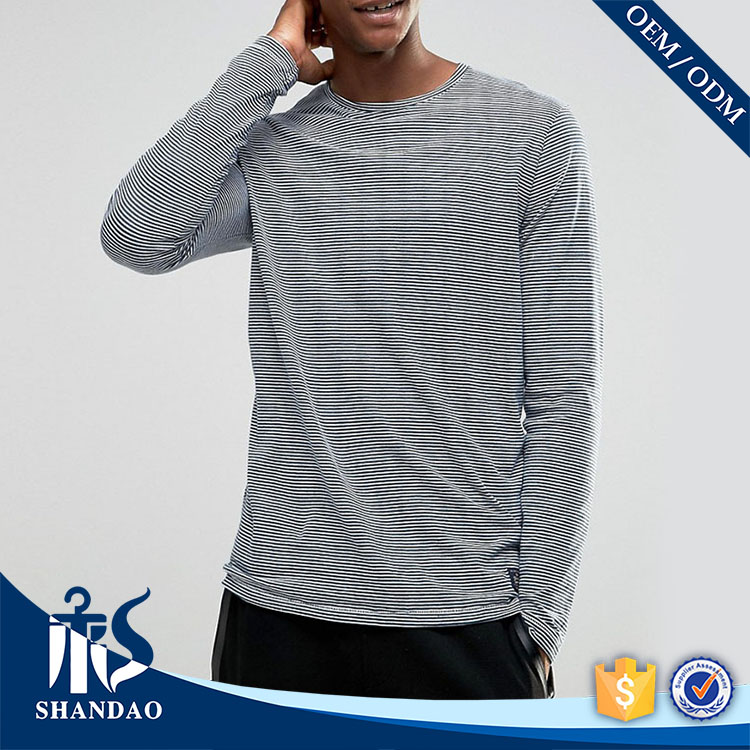 China Shandao OEM Spring Casual O-Neck Long Sleeve Stripe 160g 85% Cotton 15% Polyester Men T Shirt Good Marketing