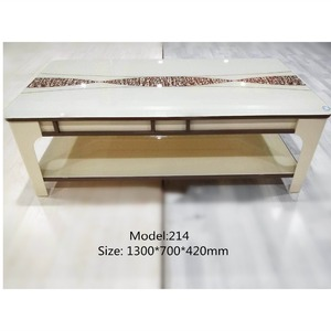 Chinese Style Beige Double Layer Small Coffe Table For Living Room