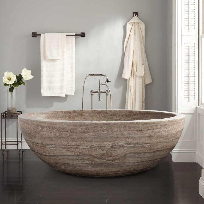 Bath Tubs Beige Cream Marble Bathtubs