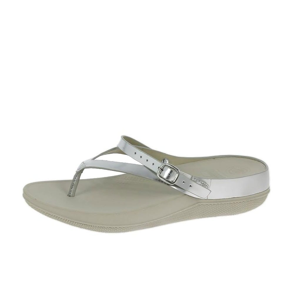 bc7d3a065c6cac Get Quotations · FitFlop Flip Leather Sandals Silver Mirror Women s Shoes