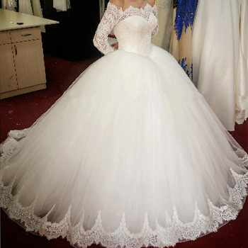 Ne150 Robe De Mariage Elegant White Lace Ball Gown Wedding Dresses 2017 Boat Neck Cap Sleeve