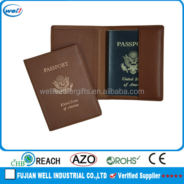 Personalized pu leather giftware pasport holder promotional