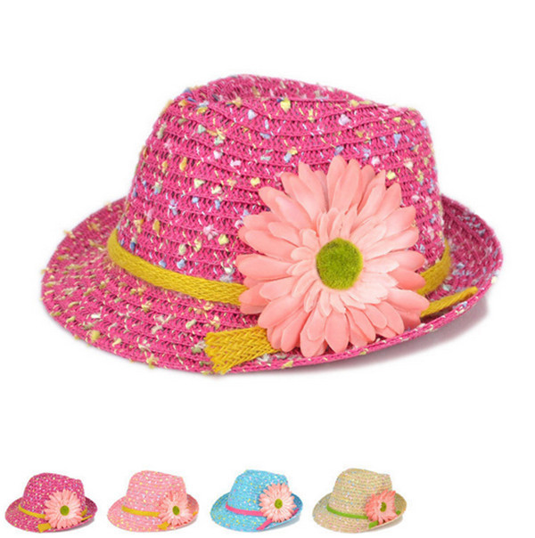 ec63d83751411b Get Quotations · Fashion summer style kids straw fedora hat Girls colorful  dots big flower chapeu floppy beach hats