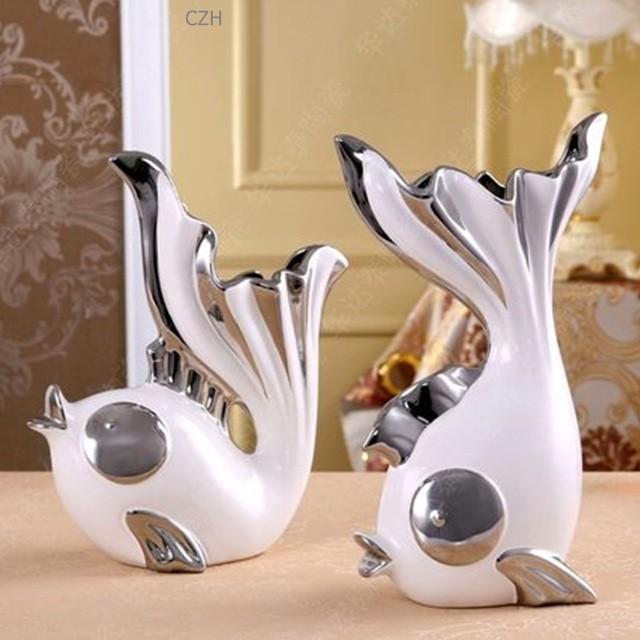 Romantic Ceramics Kissing Fish Figurines Vases Porcelain Gift And Craft Decoration Accessories