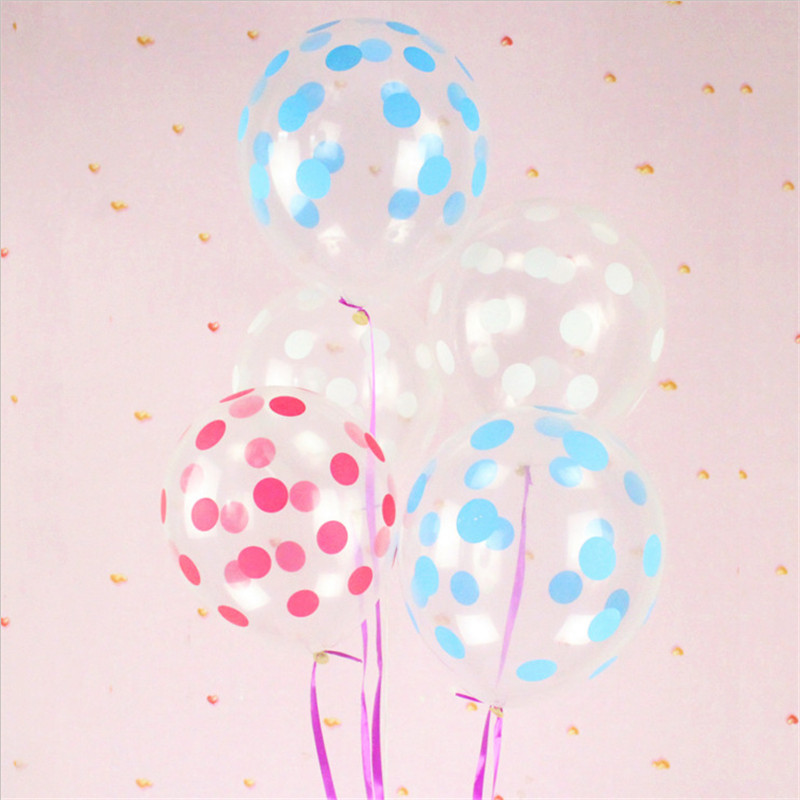 12 inch 2.8g clear transparent Polka Dot point printed natural rubber latex balloons for party supply