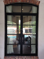 residential double steel doors with lowe glass