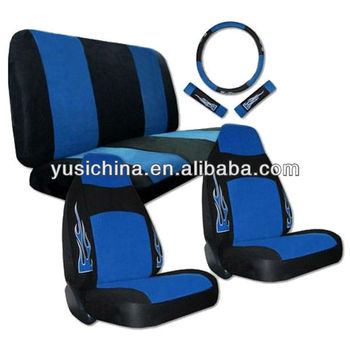 Synthetic Leather Blue Black Flame High Back Car Seat Covers