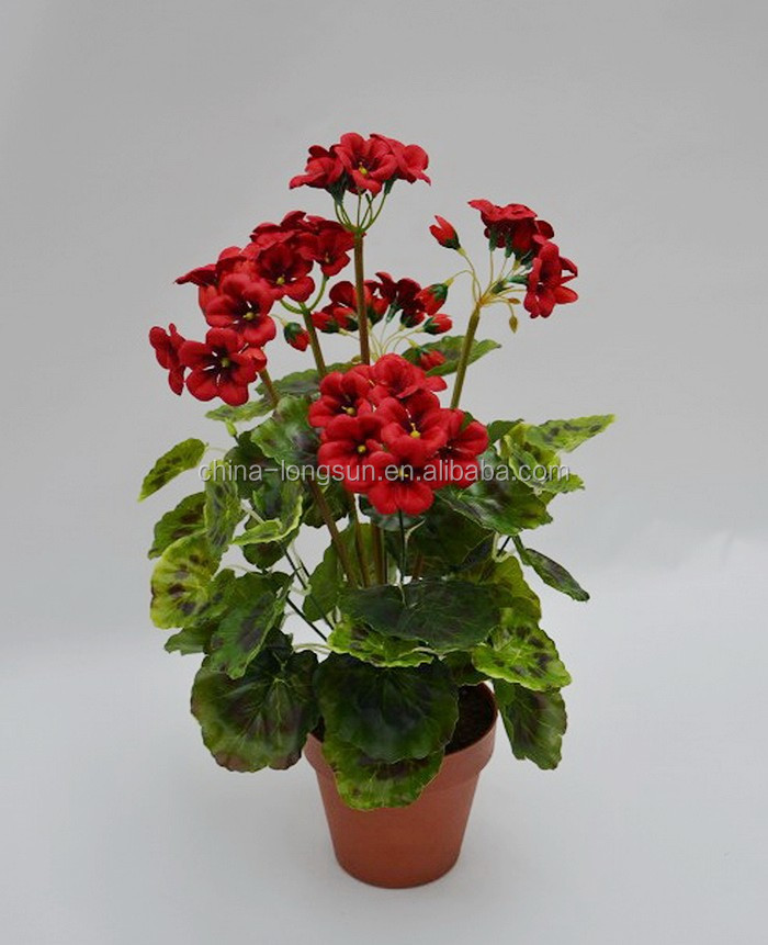 LS16070432 wholesale manufacturer high imitated red color artificial begonia flower bonsai plant