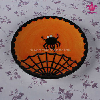 cheap price factory halloween decoration ceramic plates dishes with spider design - Halloween Plates Ceramic