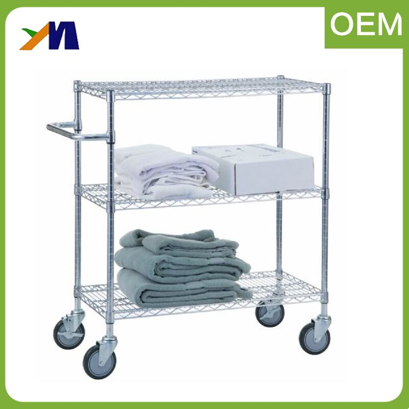 Hotel housekeeping iron serving 3 tier shelf utility kitchen trolley small hand push carts with caster