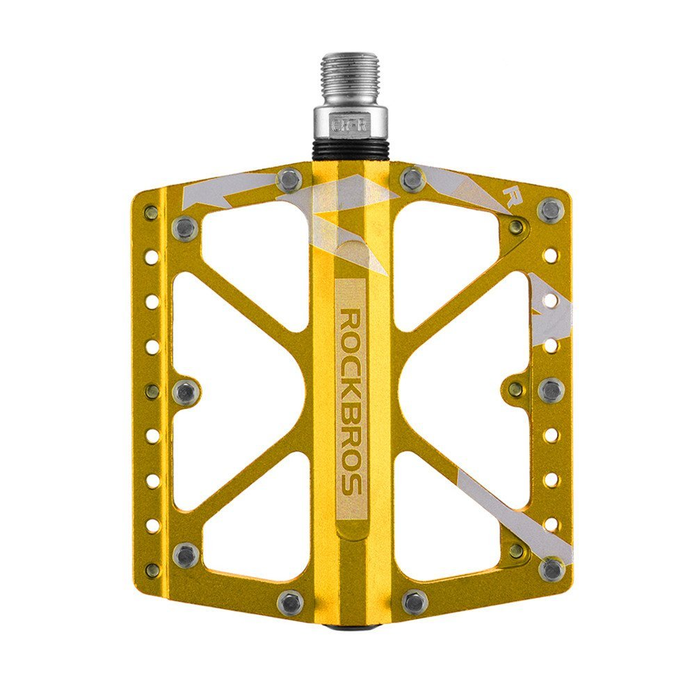 """RockBros Bike Pedals Mountain Bicycle Road Cycling Pedals Aluminum Alloy Platform Cr-Mo Machined 3 Sealed Bearing Pedals 9/16"""""""
