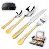 Vintage 72PCS Cutlery Set Gold Plated Stainless Steel Fork and Spoon Silverware Flatware In Wooden Gift Box