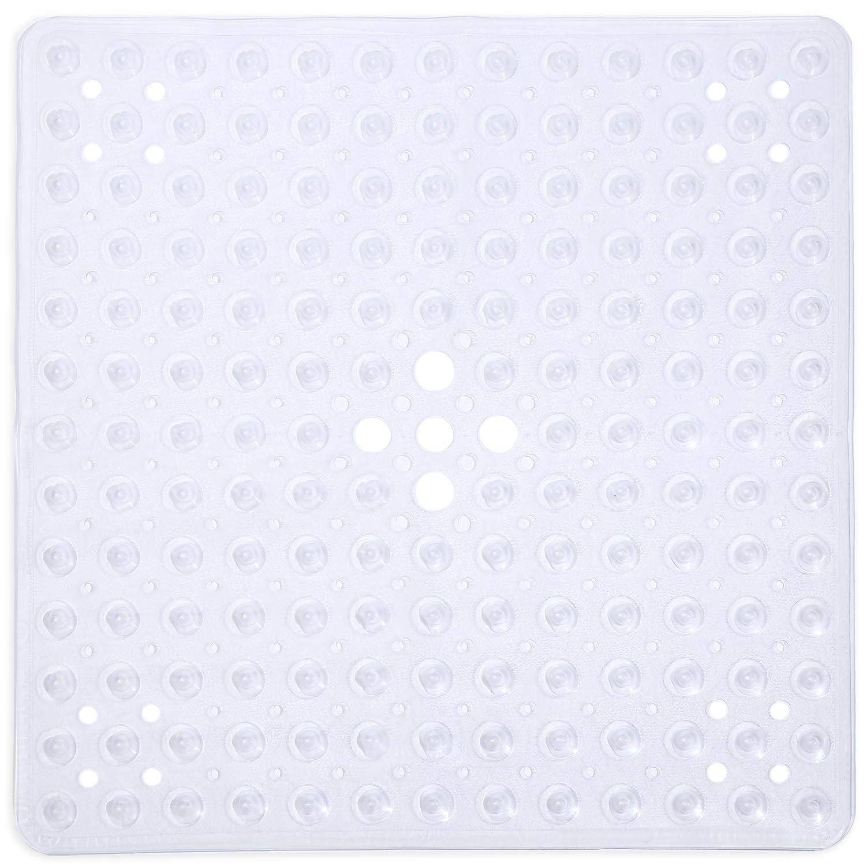 Clear Melange 612409784261 Non-Slip Anti-Bacterial Square PVC Shower Mat 21x21