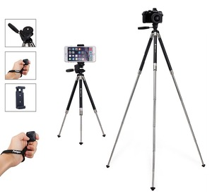 Smartphone Tripod, Fotopro stainless steel Camera Tripod + Bluetooth Remote Control + Smartphone Clip Mount +