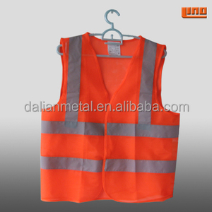 Orange reflective mesh transparent safety vest with pockets