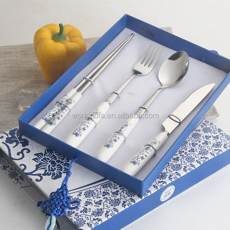 Travel Stainless Steel Cutlery Set, Chinese Style 18/10 Stainless Steel Cutlery Set With Box Packing