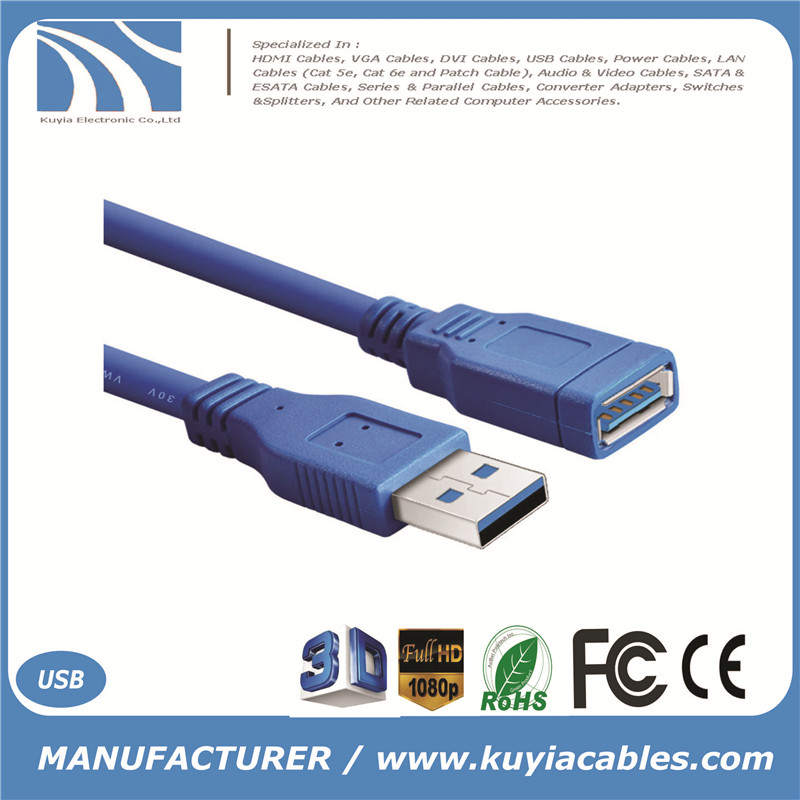 Standard USB 3.0 A Male to A Female Extension Cable USB3.0 Cable AM to AF 5 Meters 5m 16 ft 5 Gbps Speed 9+1 Core