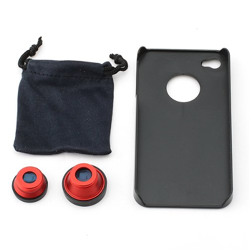 Neewer 3 in 1 Camera Lens Kit (Fish Eye Lens, Wide Angle + Micro Lens) for Apple iPhone 4 4S(Red 3 in 1 Lens Kit for 4s)