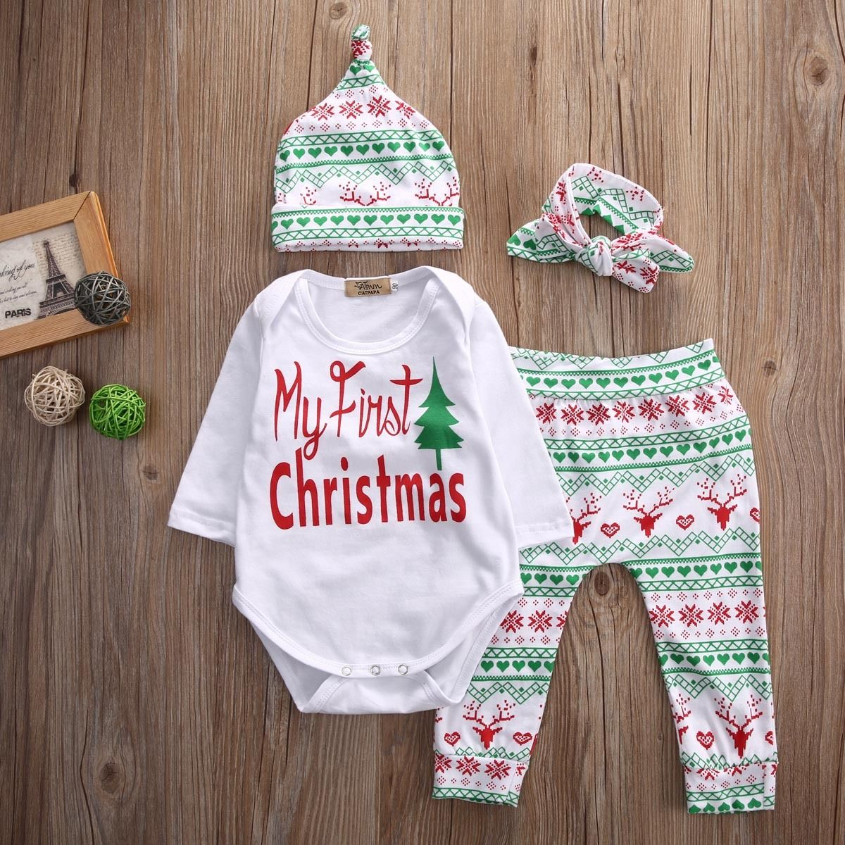 bdf1aab81 Detail Feedback Questions about My First Christmas Infant Baby Boy Girl  Outfits Clothes Romper Pants Leggings Hat Headband 4PCS Set Babies Clothes  Drop ...