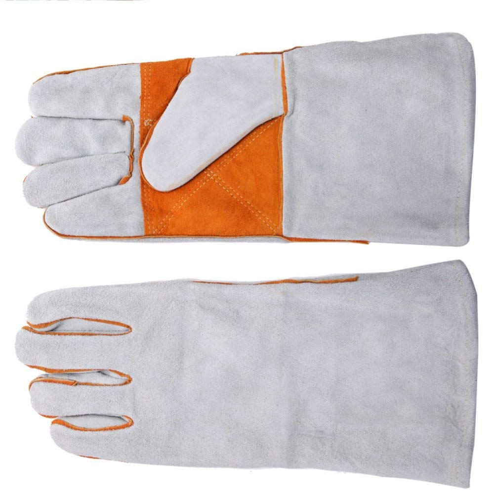 Welding gloves White Two-layer Leather Lengthen Thickening Wear-resistant Flame-retardant Protective Gloves Full Length 13.38inch,White-L