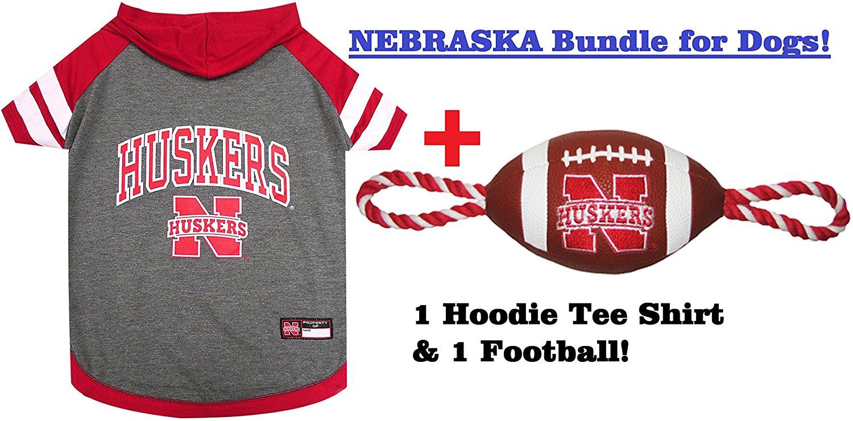 College Nebraska Cornhuskers PET FOOTBALL TOY & PET HOODIE TEE SHIRT Bundle, Large. ▬ Huskers Dog Hoodie & Football Rope Dog Toy. ▬ Football Pet T-Shirt. ▬ Football Pet Toy.