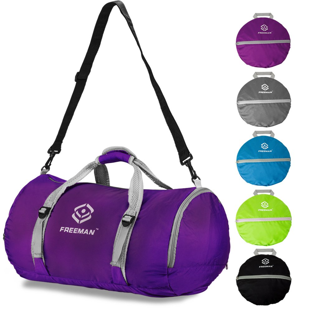Freeman Foldable Sports Duffel Gym Bag for Women Men with Shoe Compartment, Lightweight Water Resistant Compact
