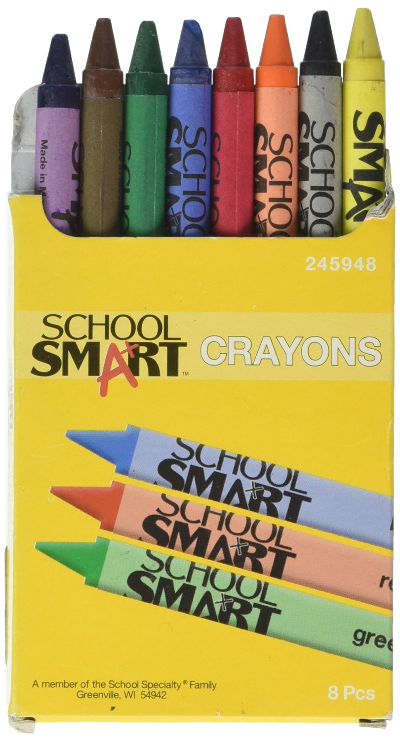School Smart Standard Non-Toxic Crayons - 3 1/2 x 5/16 inches - Set of 8 - Assorted Colors