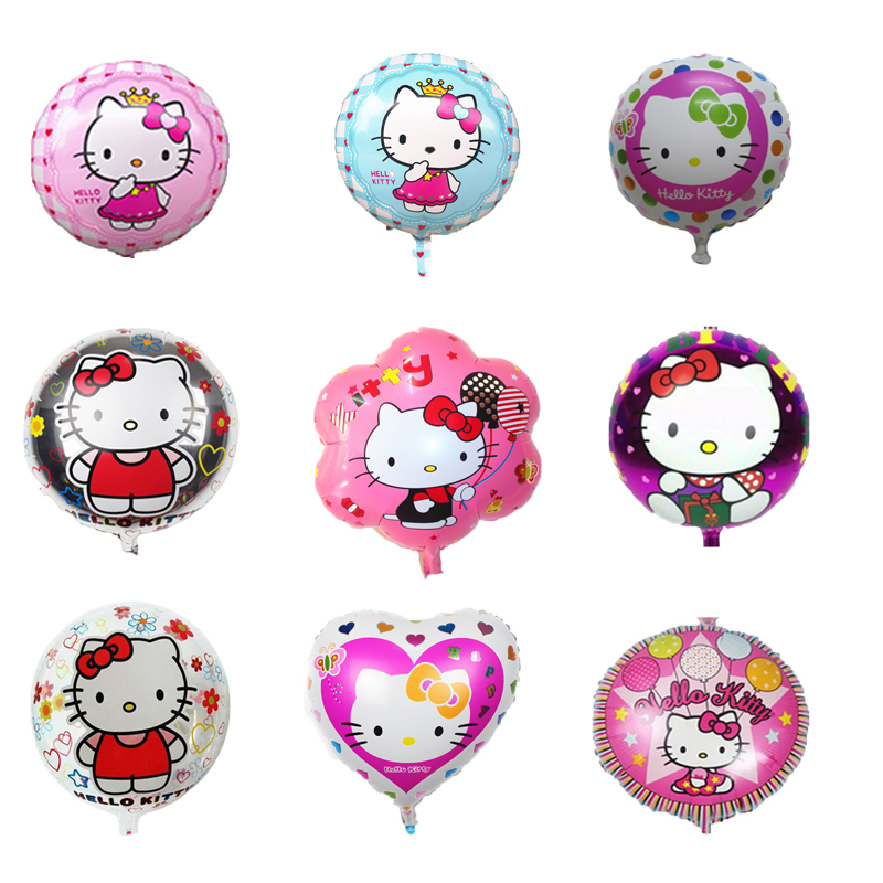 Wholesale 18'' hello kitty KT cartoon character pattern round/heart/flower shape foil helium balloon for kid toys